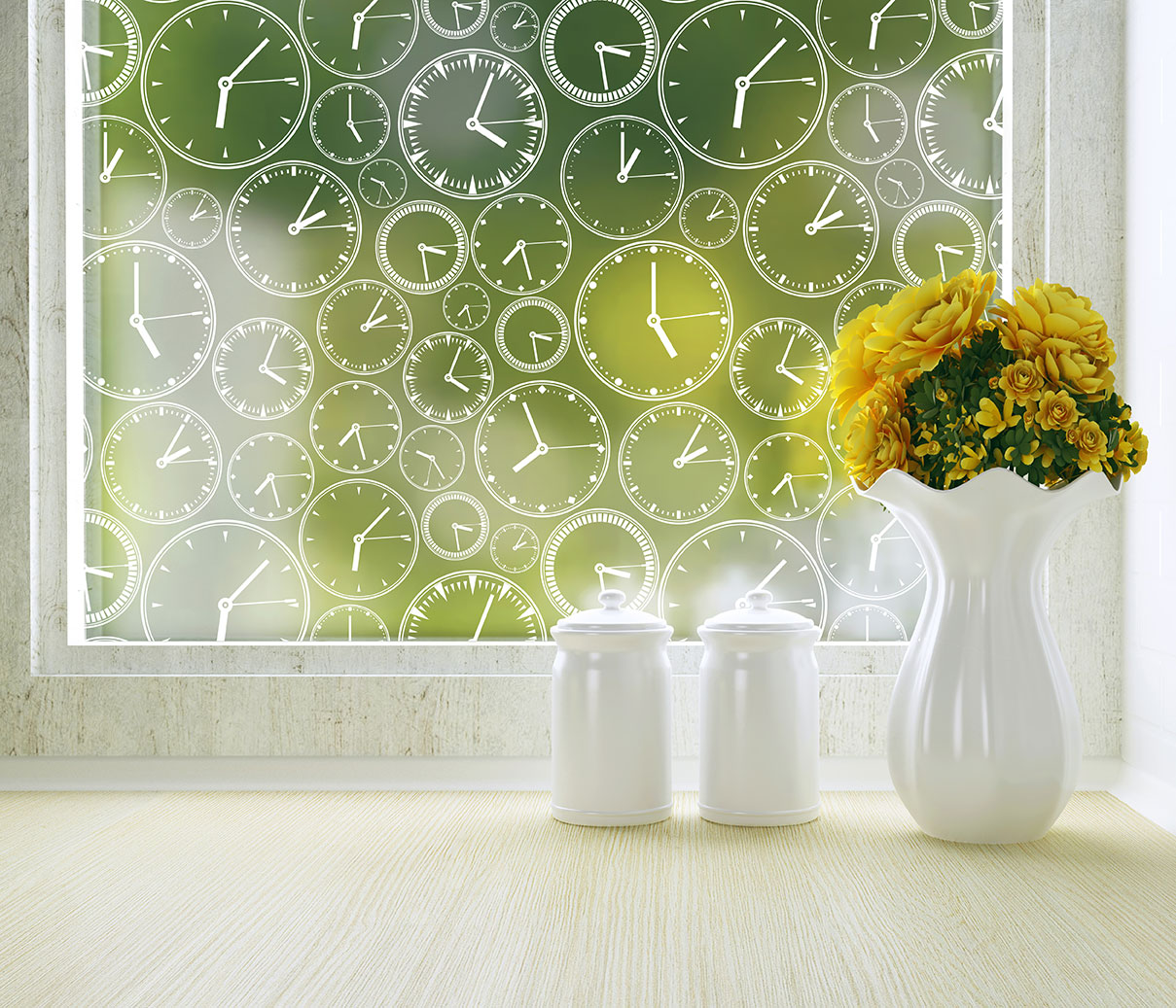 About Time privacy window film by Odhams Press